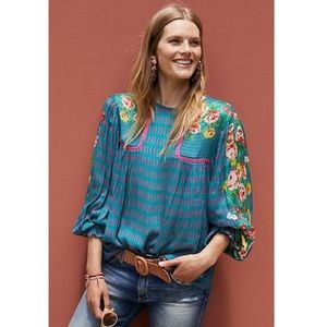 Anthropologie Bl^nk London Eclectic Peasant Top